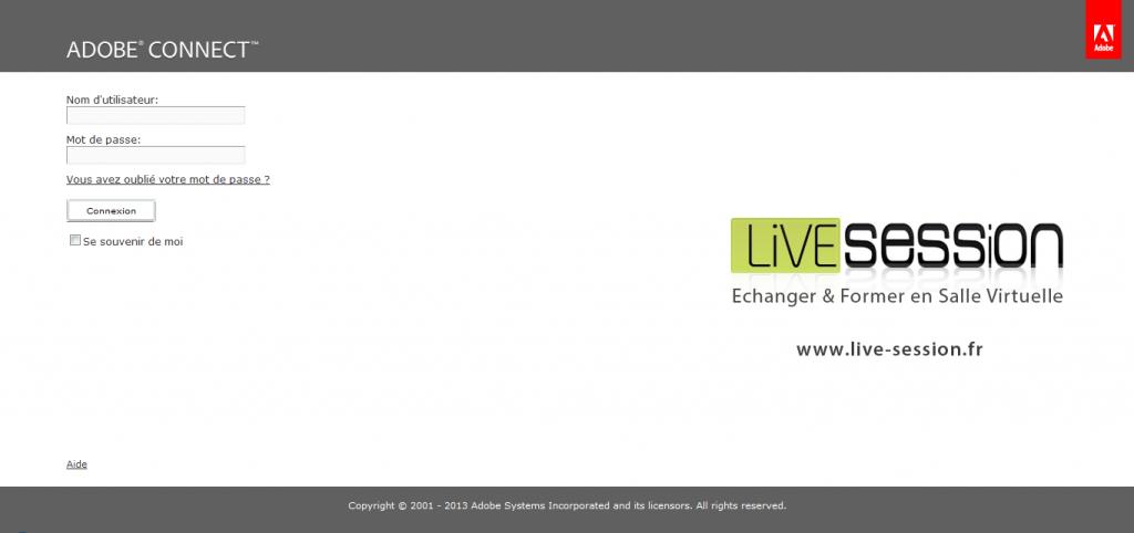 Image de la page d'accueil pour la connexion aux classes virtuelles