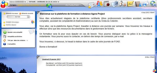Capture d'écran du site Agora du GRETA