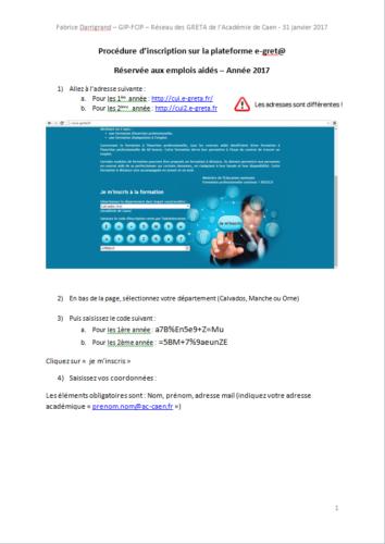 Procédure auto-inscription e-gret@ pour CUI - 2017